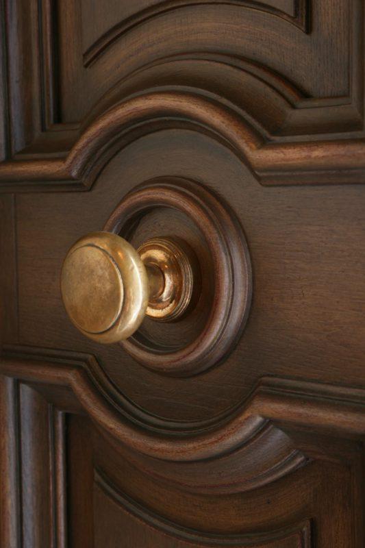 Koperkleurige Dauby deurknop